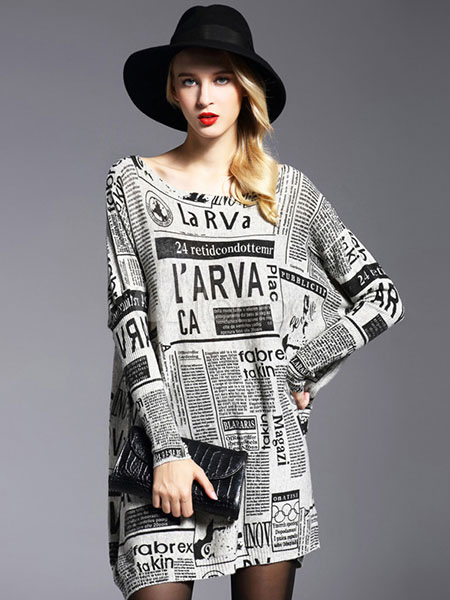 Women's Sweater Dress Letters Printed Cotton Long Sleeve Oversized Knitted Dress