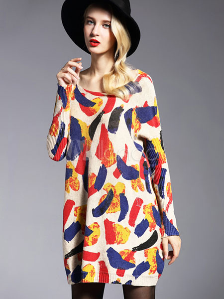 Printed Sweater Dress Women's Cotton Long Sleeve Oversized Knitted Dress