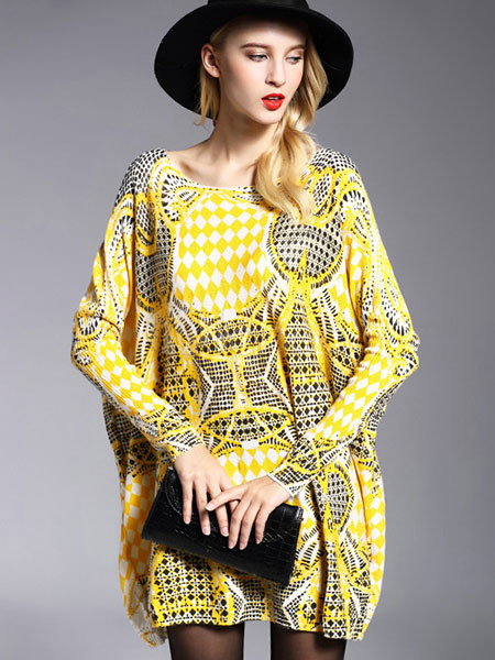 Yellow Sweater Dress Women's Cotton Long Sleeve Printed Oversized Knitted Dress