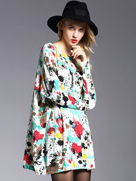 Women's Sweater Dresses Printed Long Sleeve Cotton Oversized Short Knit Dresses