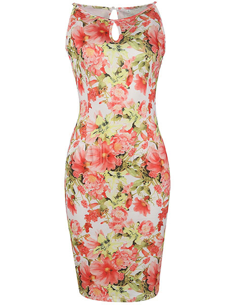 Sleeveless Keyhole Bodycon Dress Women Pink Floral Print Camis Pencil Dress