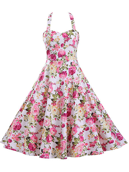 Pink Vintage Dresses Floral Print Strappy Backless Full Skirt Dresses For Women (Women\\'s Clothing) photo