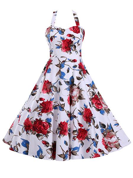 White Vintage Dress Floral Print Halter Pleated Retro Dress For Women (Women\\'s Clothing Vintage Dresses) photo