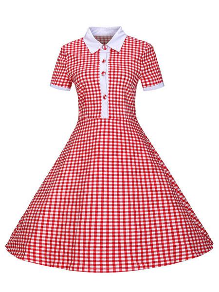 Vintage Shirt Dress Red Midi Dress Gingham 1950 Women Vintage Dresses (Women\\'s Clothing) photo