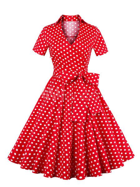 Red Vintage Dress Polka Dot Bow Short Sleeve V-neck Pleated Retro Dress For Women (Women\\'s Clothing Vintage Dresses) photo