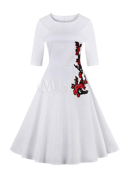 White Vintage Dress Embroidered Half-sleeve Flare Dress For Women (Women\\'s Clothing Vintage Dresses) photo
