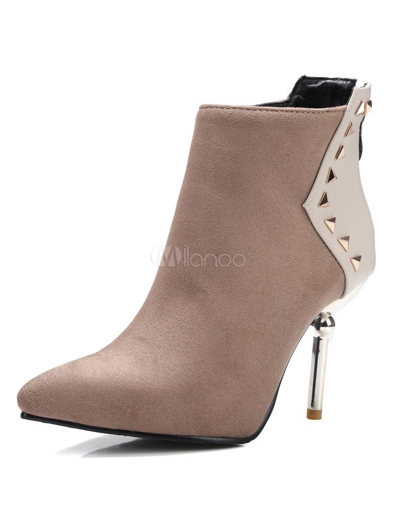 schwarze ankle boots high heel spitz nieten damen. Black Bedroom Furniture Sets. Home Design Ideas