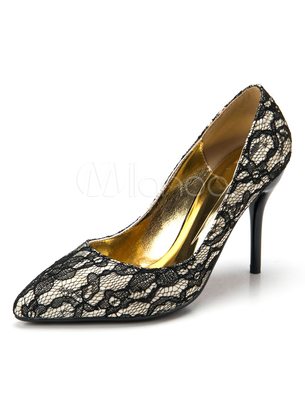 Black Wedding Shoes Lace Pointed Women's High Heel Bridal Shoes