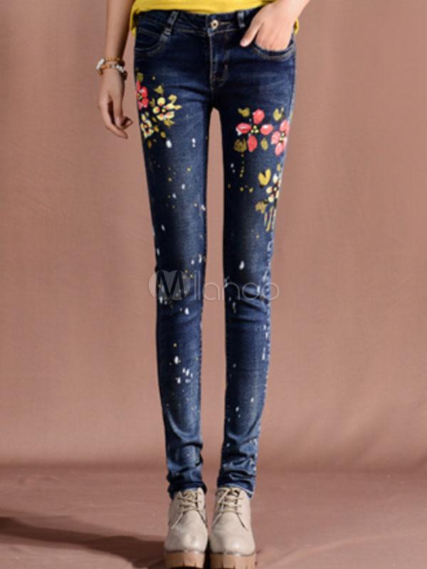 blaue damen jeans aus baumwolle floral bedruckten skinny. Black Bedroom Furniture Sets. Home Design Ideas