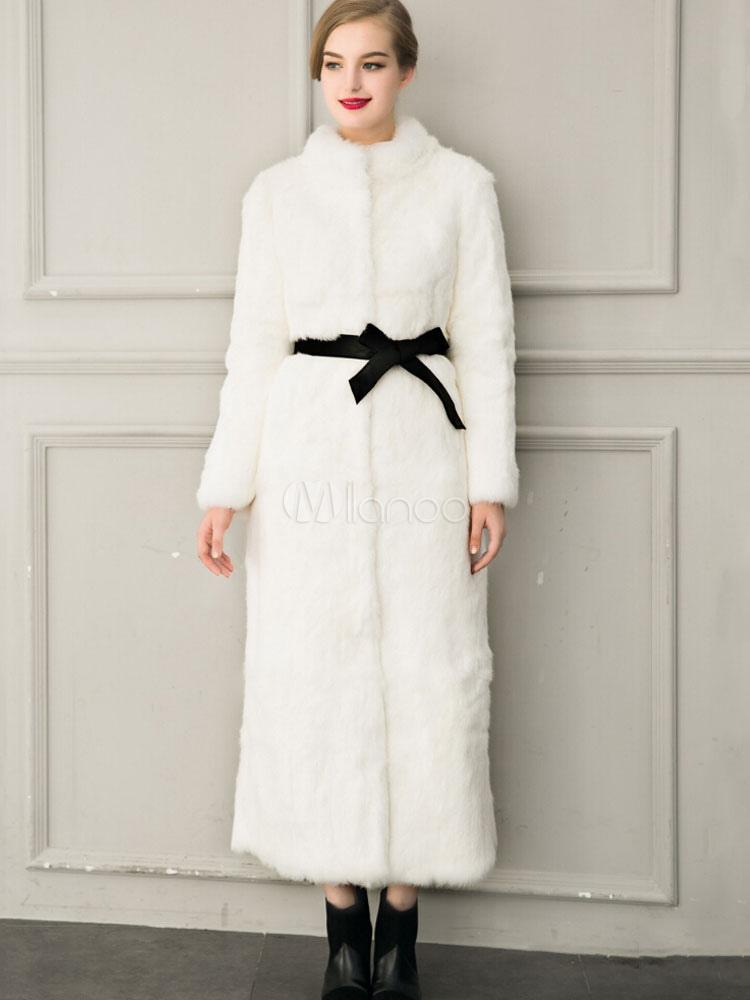 white winter coat women 39 s faux fur open front luxurious. Black Bedroom Furniture Sets. Home Design Ideas
