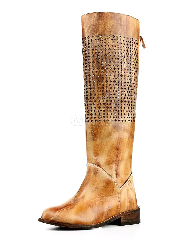 Knee High Boots Yellow Women's Cut-out Distressed Zipper Lace-up Leather Long Boots thumbnail
