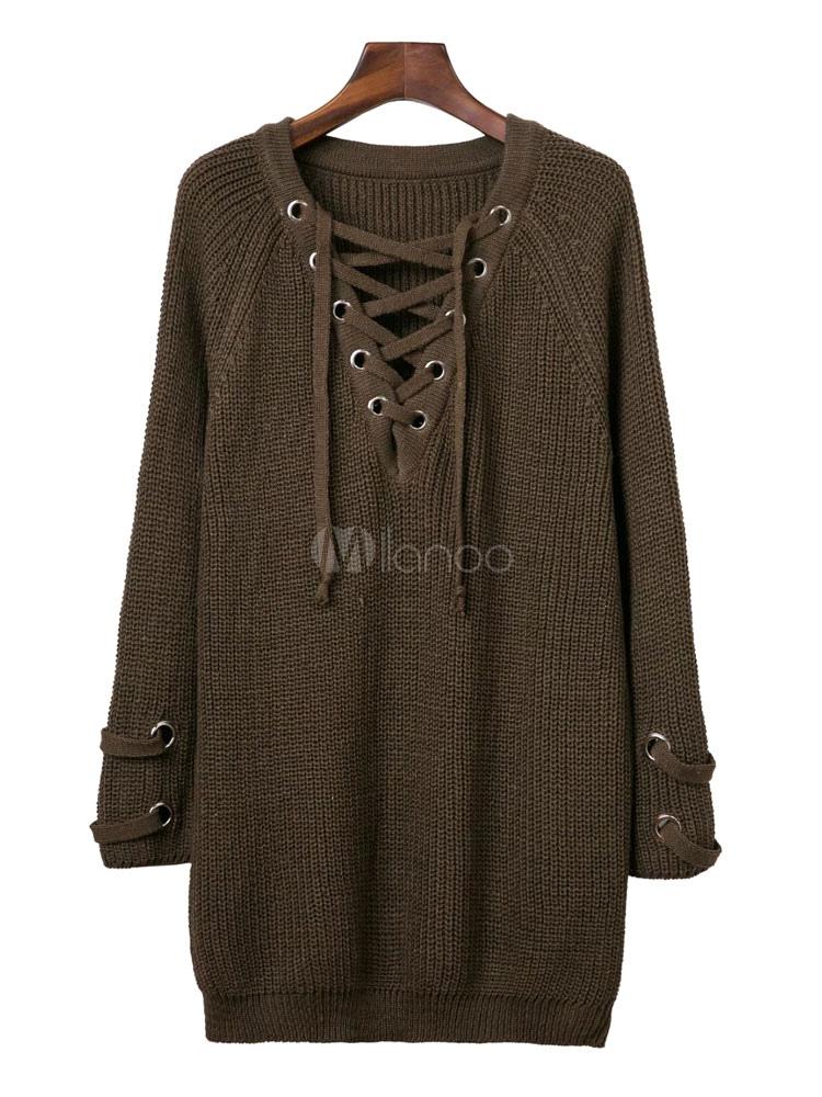 Women S Brown Sweater Long Sleeve V Neck Criss Cross Lace