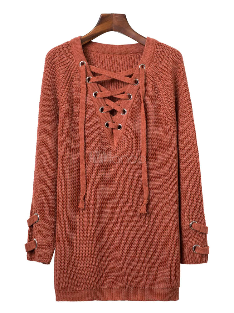Women S Brown Sweater Long Sleeve V Neck Criss Cross Lace