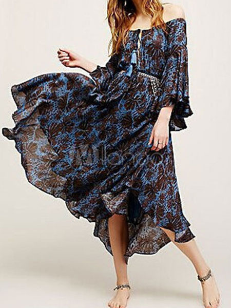 off the shoulder volants en mousseline de soie robe longue. Black Bedroom Furniture Sets. Home Design Ideas