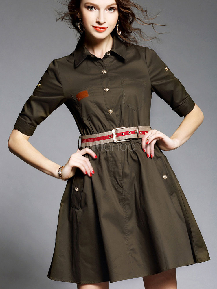 Skater Dress With Belt Modern Casual Dress For Girls - Milanoo.com