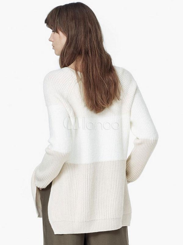 wei er pullover stricken kontrast farbe seite schlitz. Black Bedroom Furniture Sets. Home Design Ideas