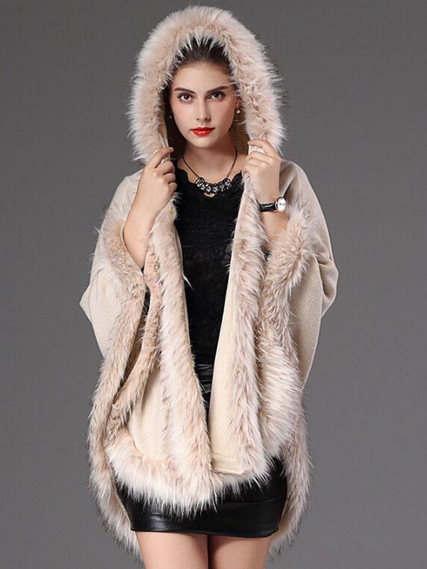 Hooded Winter Coat Faux Fur Open Front Cotton Cape Coat