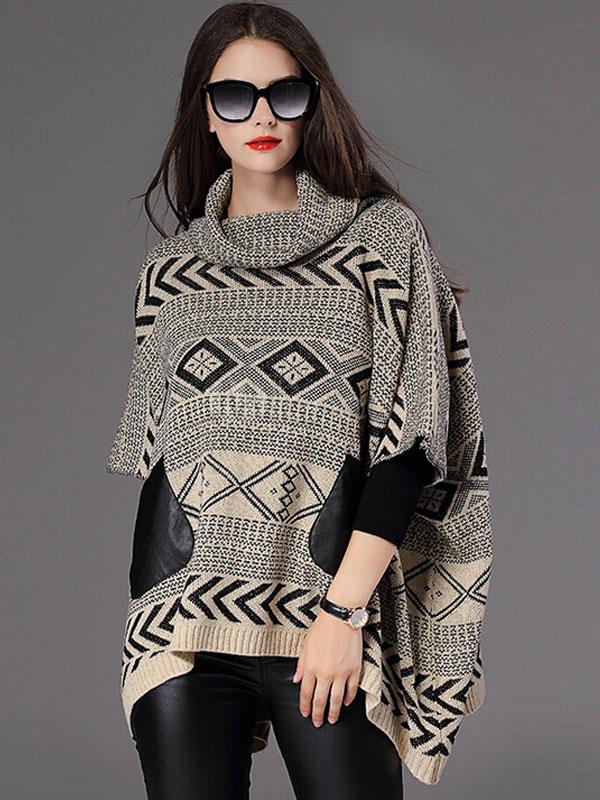 damen pullover pullover halbe batwing rmel hoch niedrig jacquard poncho pullover. Black Bedroom Furniture Sets. Home Design Ideas