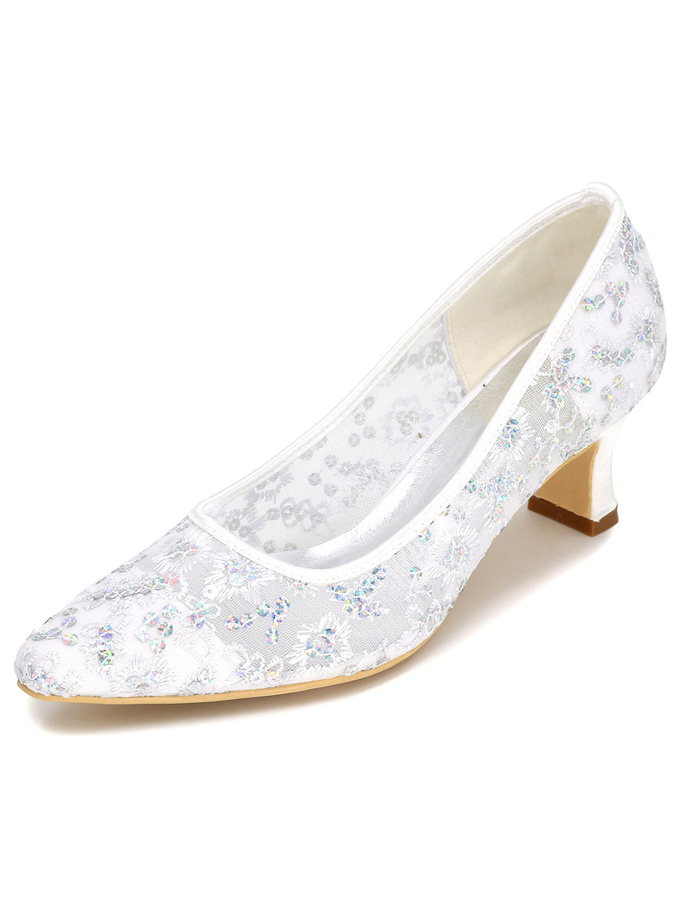 White Wedding Shoes High Heel Lace Beaded Embroidered Bridal Shoes