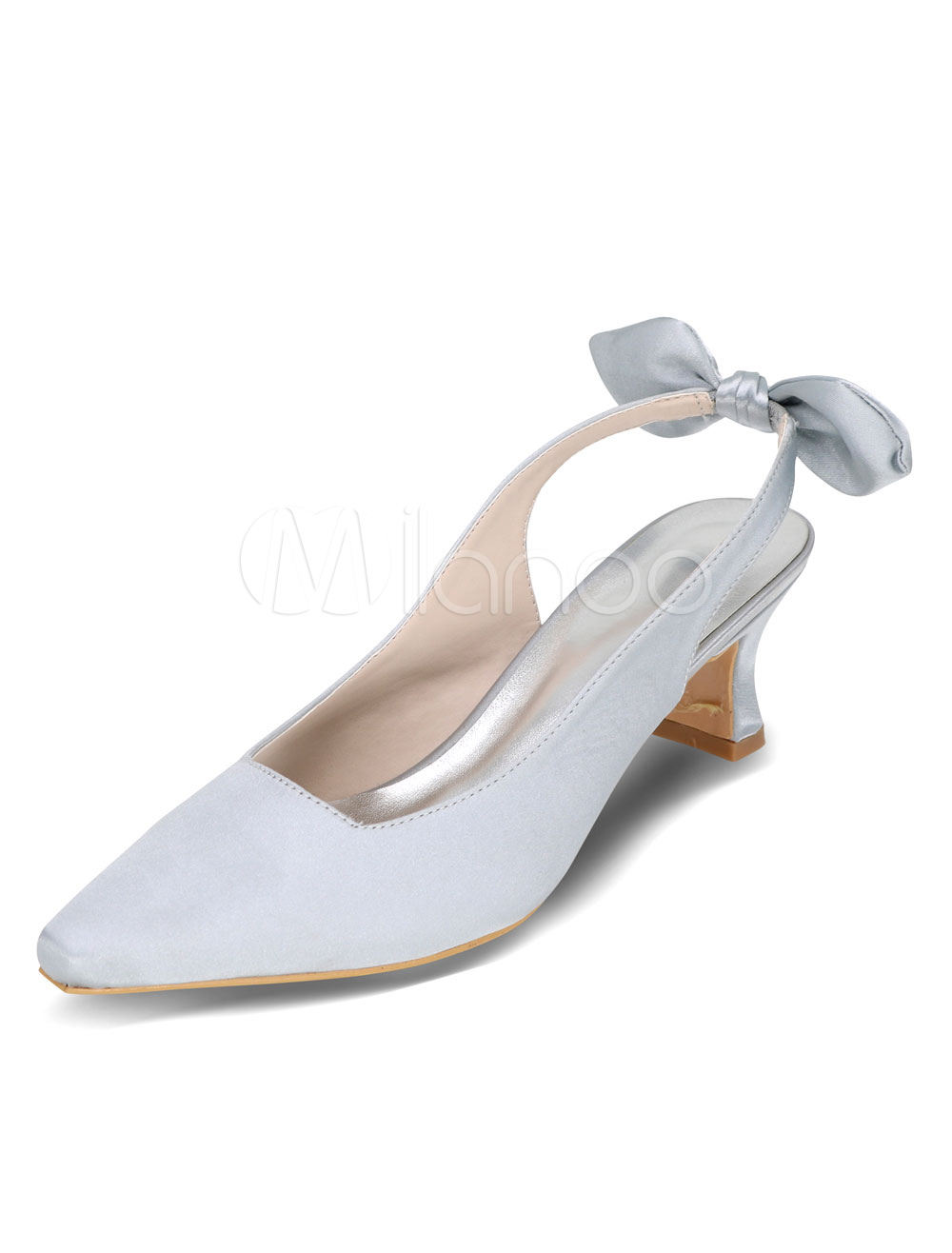 Silver Wedding Shoes High Heel Bows Elegant Satin Bridal Shoes