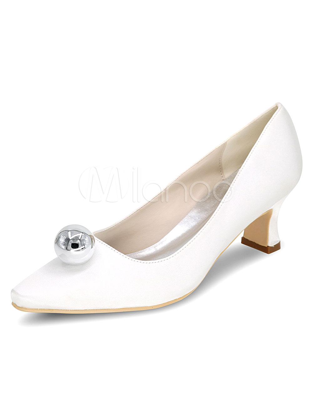 White Wedding Shoes Chunky Heel Pearls Satin Slip On Bridal Shoes