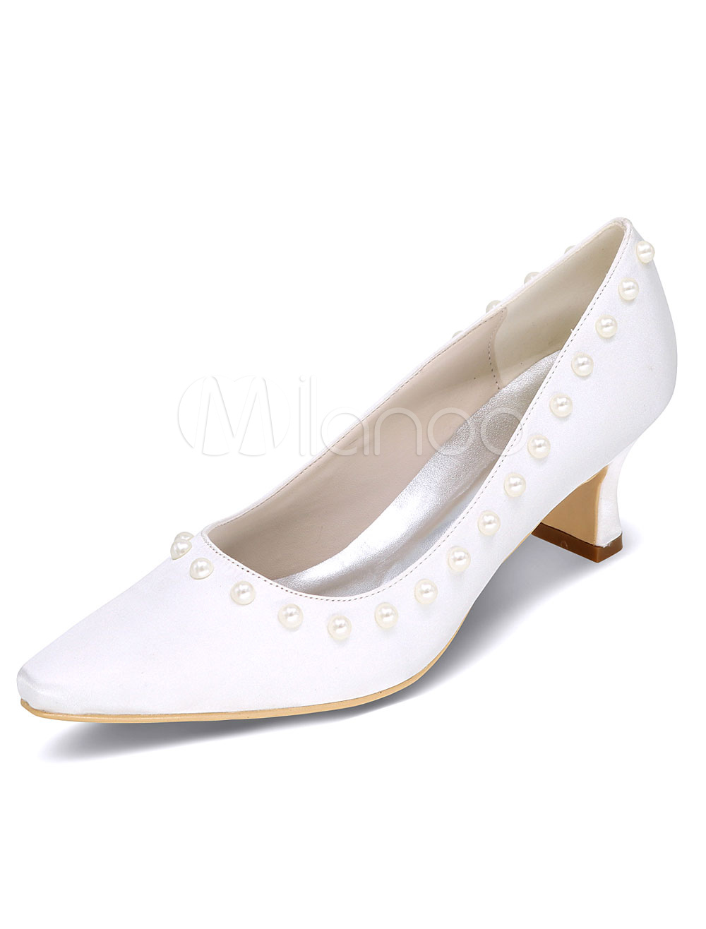 White Wedding Shoes High Heel Pearls Elegant Satin Slip On Bridal Shoes