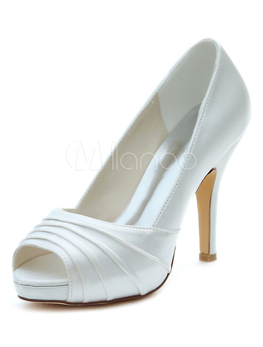Ivory Wedding Shoes High Heel Peep Pumps Platform Pleated Slip-on Bridal Shoes