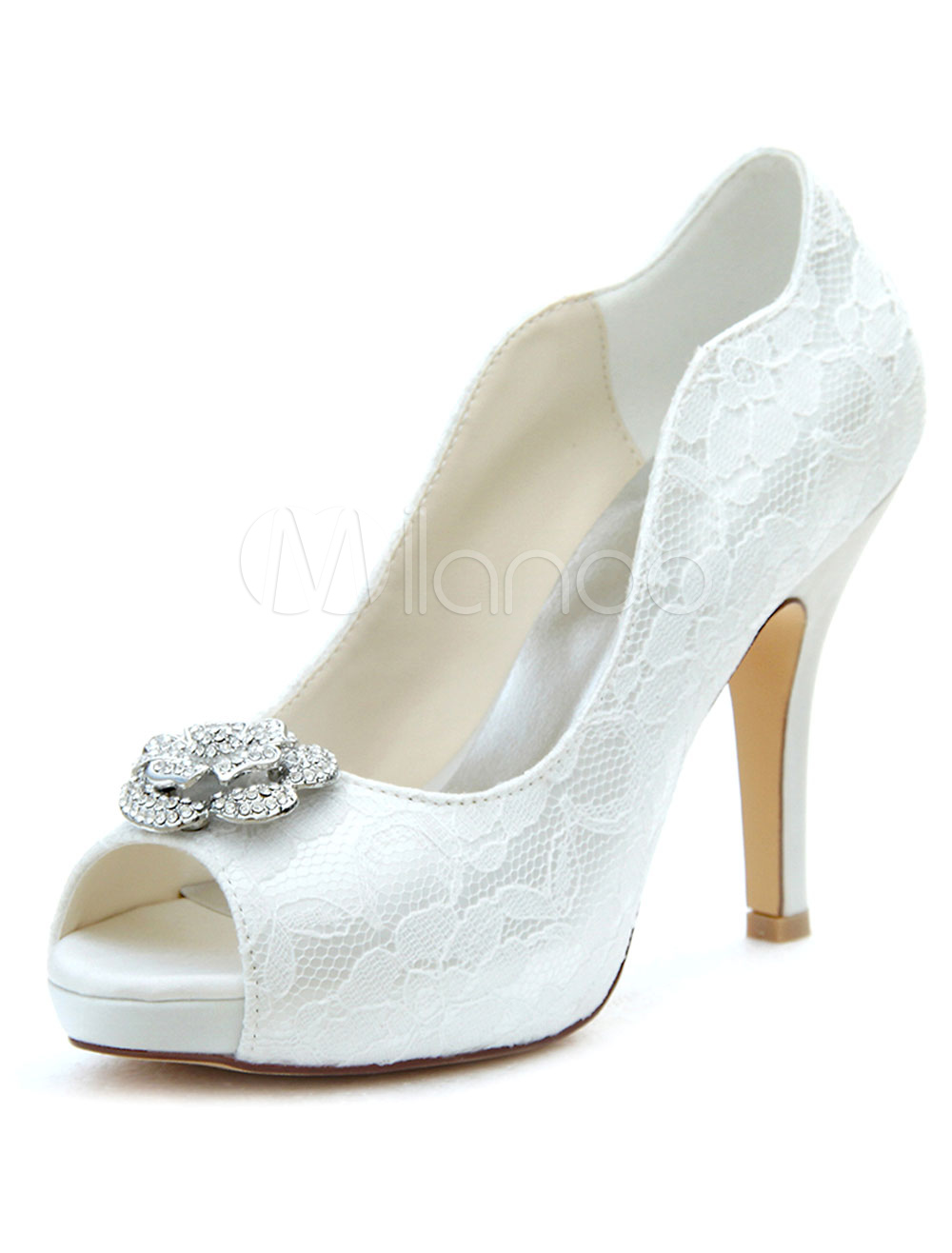 Lace Wedding Shoes High Heel Ivory Pumps Peep Rhinestone Platform Slip-on Bridal Shoes