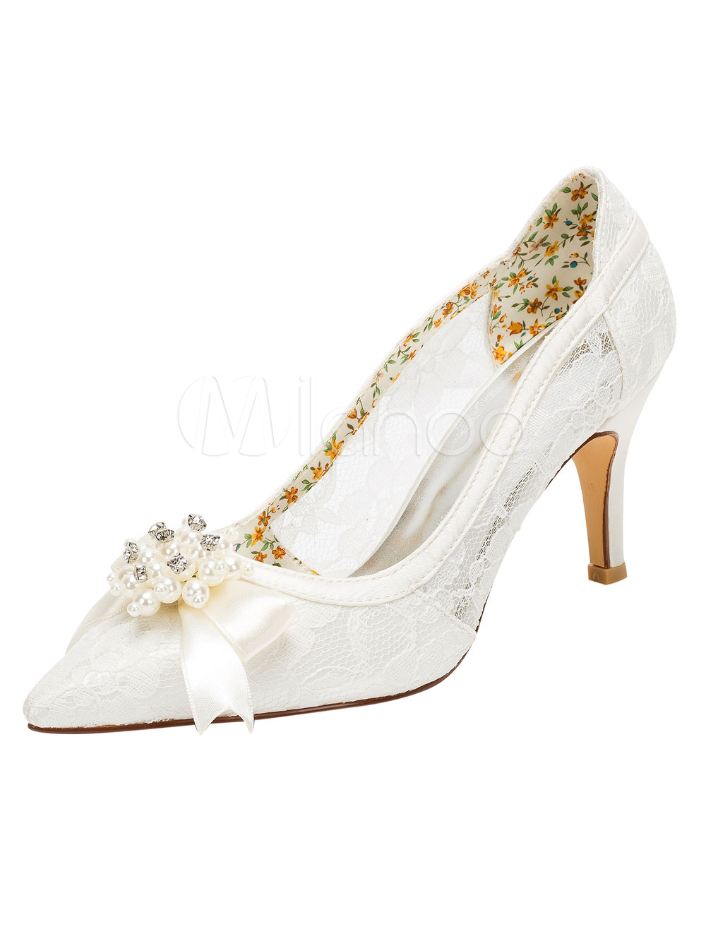 Lace Wedding Shoes Ivory High Heel Pumps Pointed Pearl Bow Slip-on Bridal Shoes