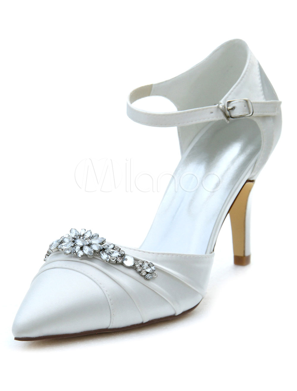 Ivory Bridal Shoes High Heel Pointed Rhinestone Ankle Strap Wedding Shoes