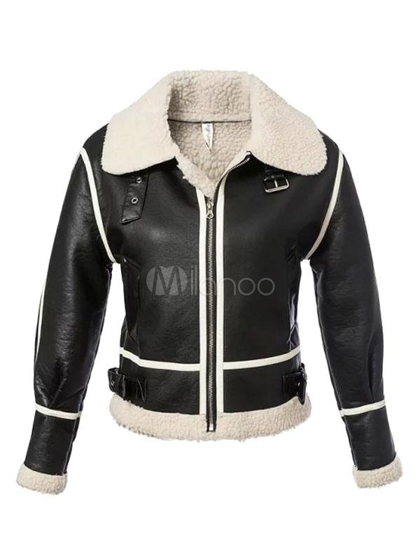 veste d hiver rouge fausse fourrure manches longues moto veste pour femmes. Black Bedroom Furniture Sets. Home Design Ideas