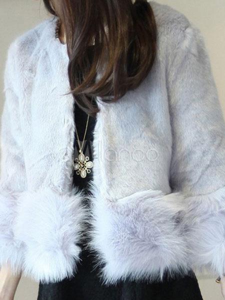 court manteau manteau fausse fourrure manches longues blanc f minin d hiver. Black Bedroom Furniture Sets. Home Design Ideas