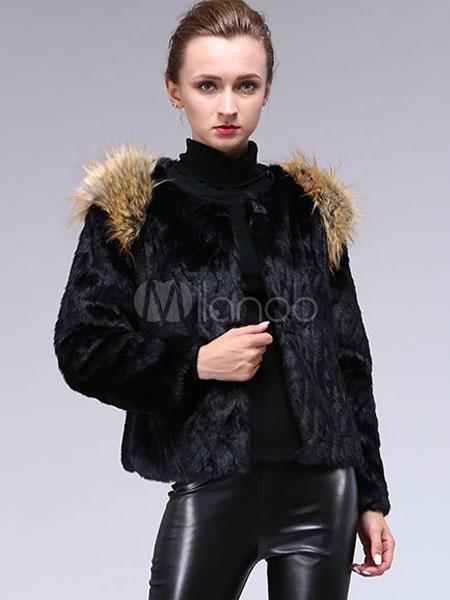 kunstpelz mantel schwarz damen langarm slim fit kurze. Black Bedroom Furniture Sets. Home Design Ideas