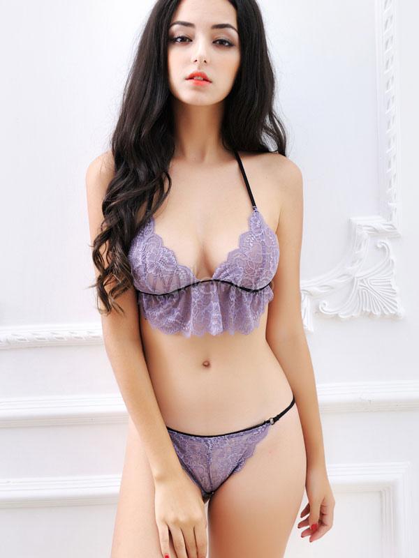 Sexy Bra Set Women's Purple Lace Halter Lace Up T-Back Ruffle Bra With Thong thumbnail