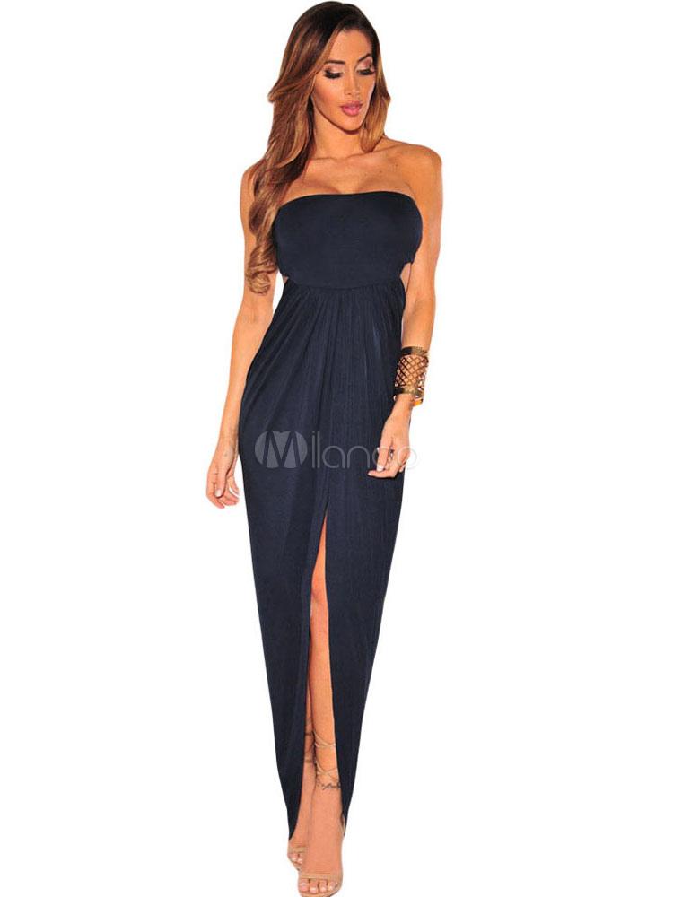 Club Maxi Dress Strapless Pleated Cut Out Slit Women's Sexy Long Dress (Women\\'s Clothing Club Dresses) photo