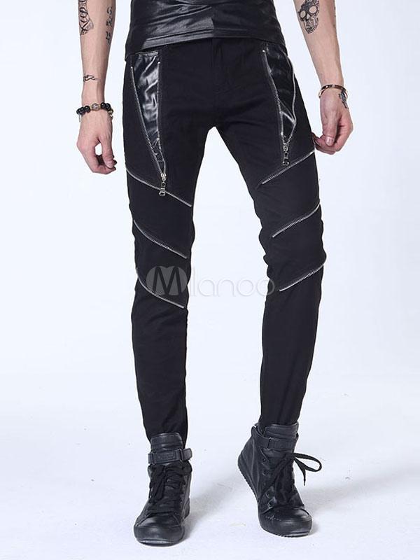 schwarze skinny jeans herren punk stil rei verschl sse. Black Bedroom Furniture Sets. Home Design Ideas