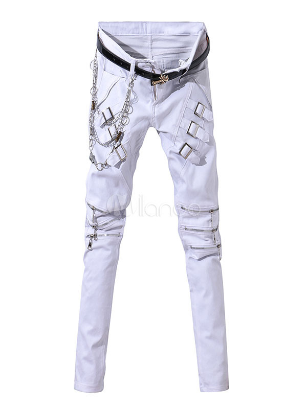 wei e skinny jeans herren punk stil ketten slim fit kausale denimjeans. Black Bedroom Furniture Sets. Home Design Ideas