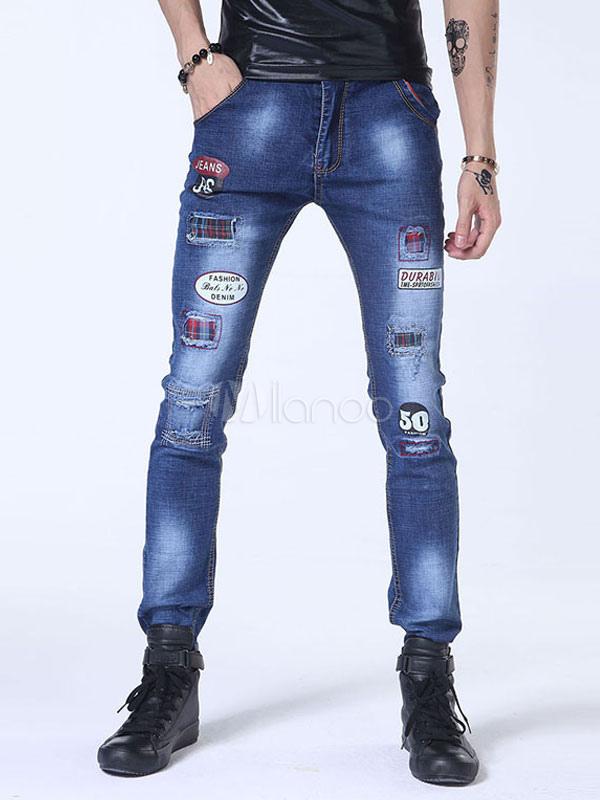 blaue herren jeans verzweifelt bedruckten skinny jeans. Black Bedroom Furniture Sets. Home Design Ideas