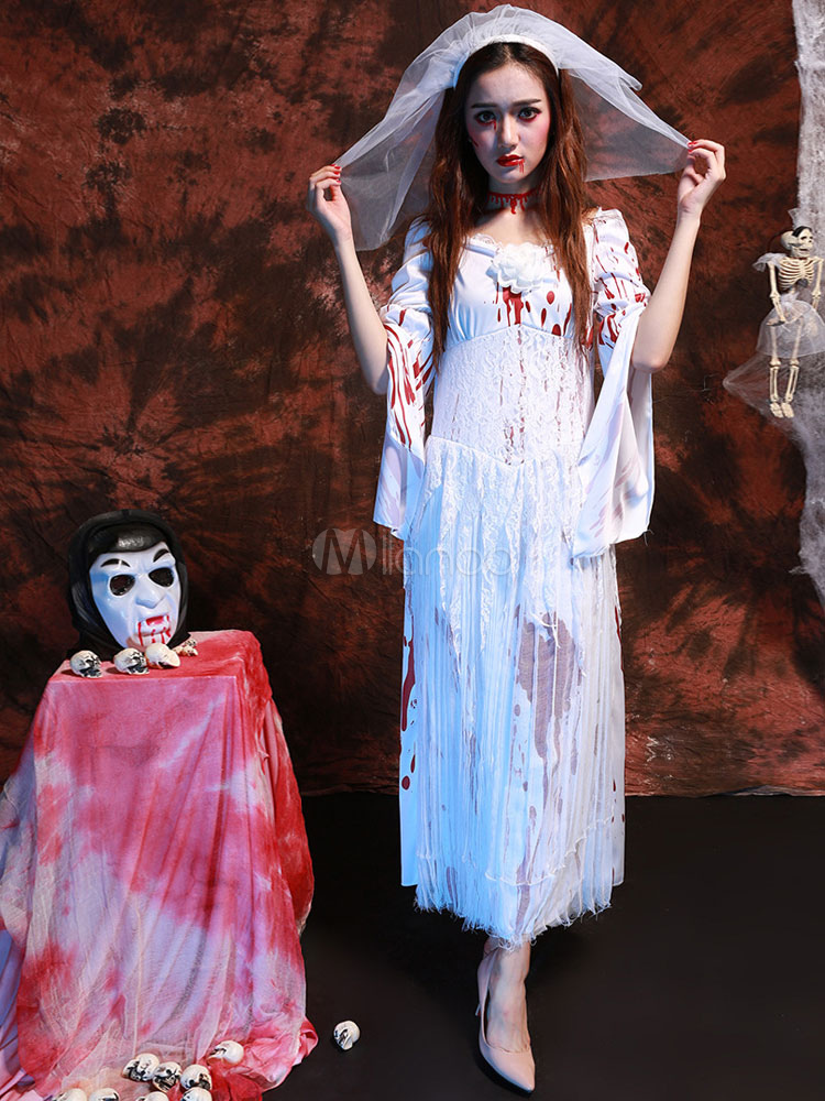 Corpse Bride Costume Halloween Women's Flare Sleeve White Long Dress With Veil Halloween (Costumes Scary Costume) photo