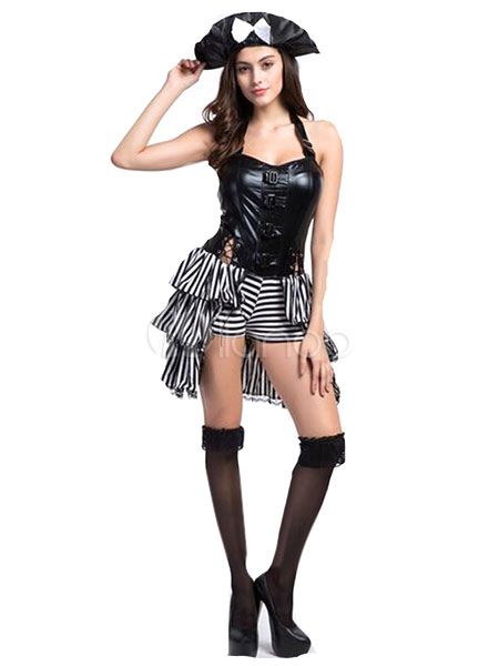 Halloween Sexy Pirate Costume Pirates Of The Carribbean Women's Layered PU Corset Dress With Hat Halloween