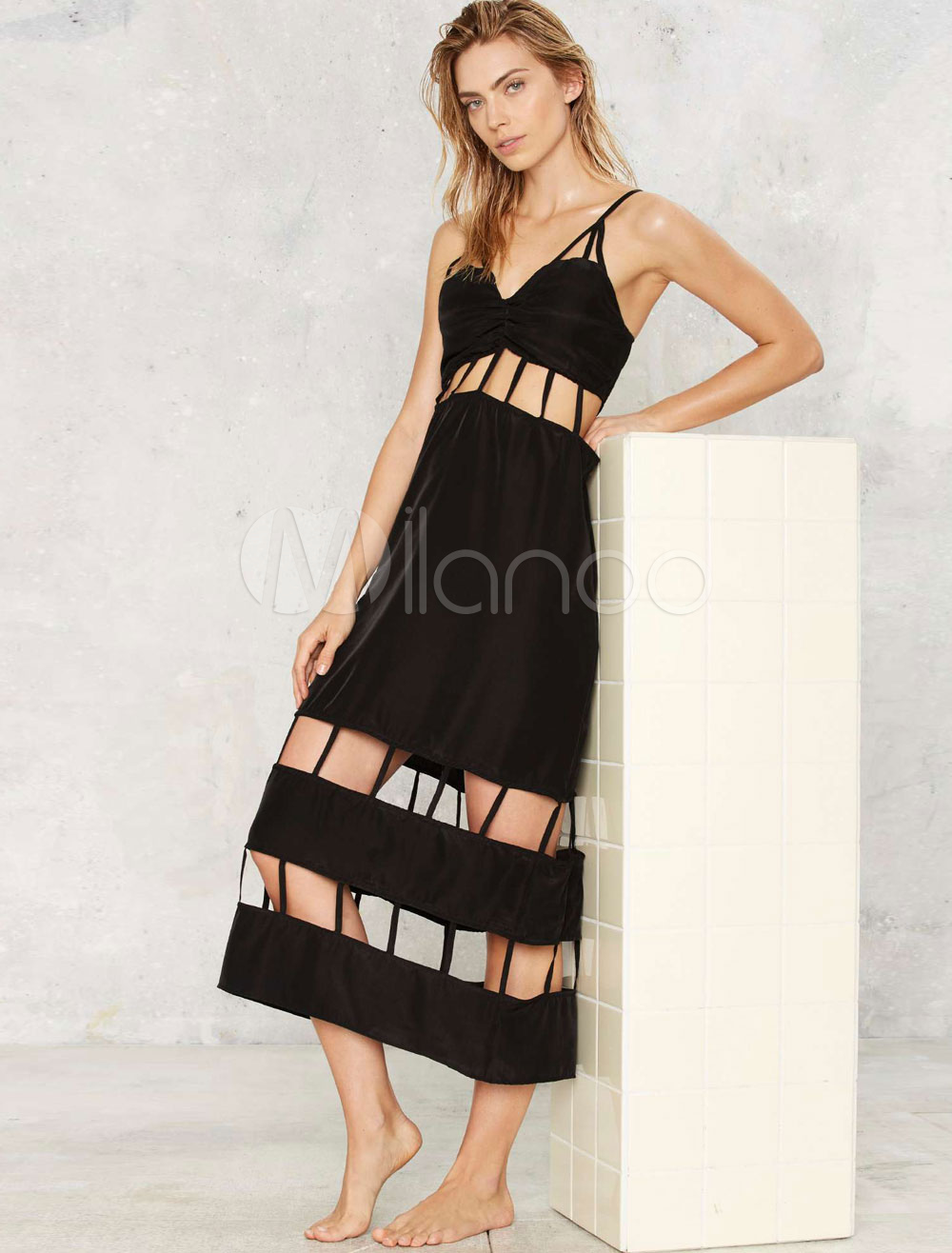 Black Maxi Dress V-neck Cut Out Women's Long Slip Dress (Women\\'s Clothing Maxi Dresses) photo