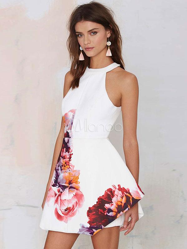White Skater Dress Floral Print Sleeveless Halter Backless Short Flare Dress (Women\\'s Clothing Summer Dresses) photo