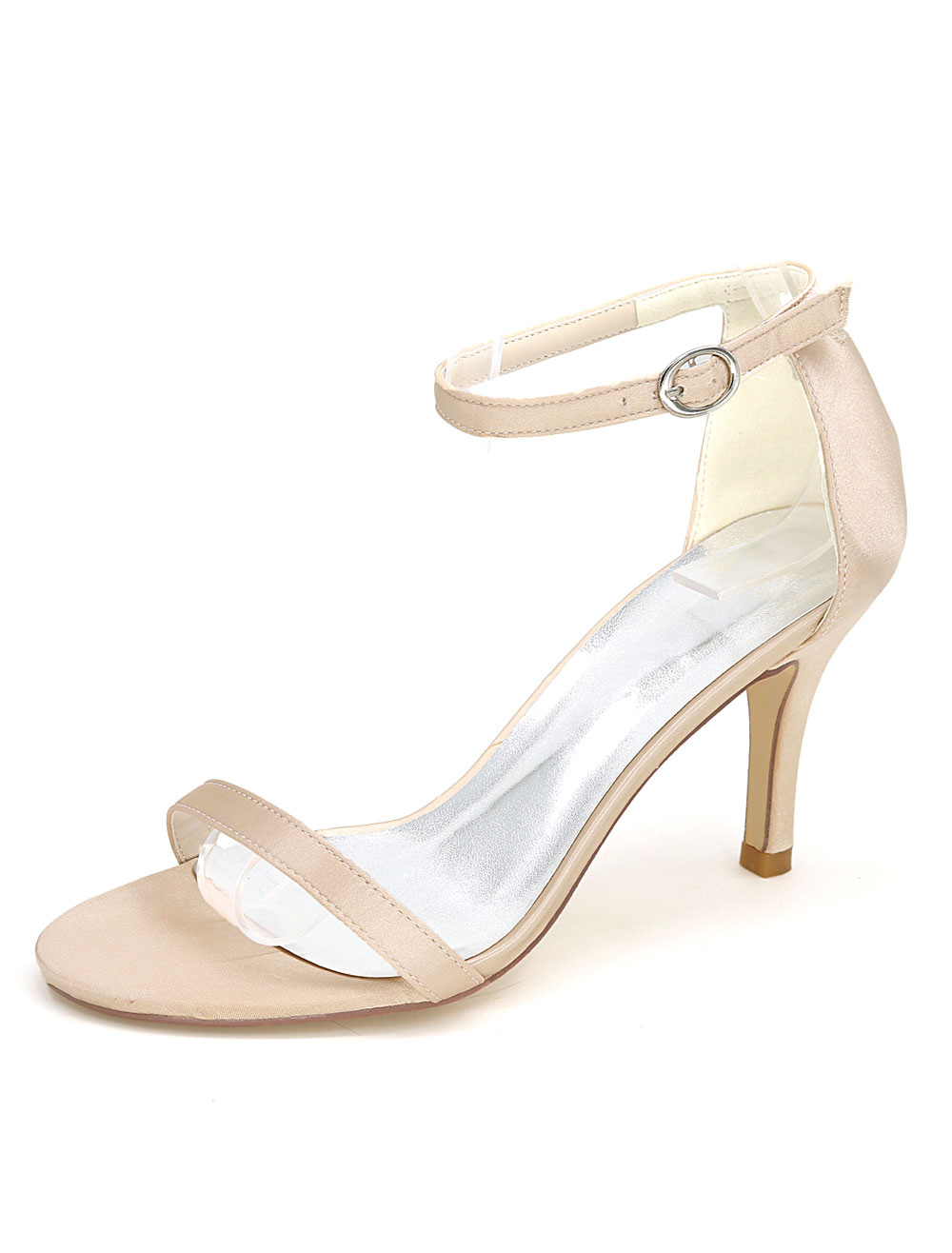 White Wedding Shoes High Heel Sandals Ankle Strap Open Toe Bridal Shoes