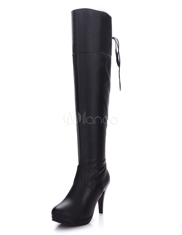 Black Heel Boots Over Knee Platform Round Toe High Boots For Women thumbnail