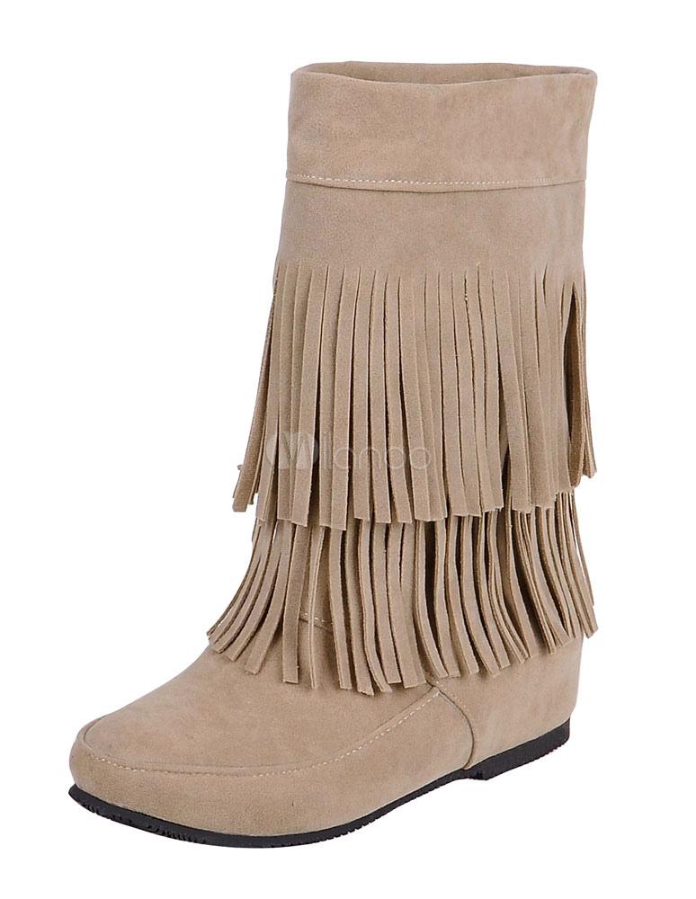 Women's Bohemian Boots Hidden Heel Fringe Round Toe Cowgirl Short Boots thumbnail