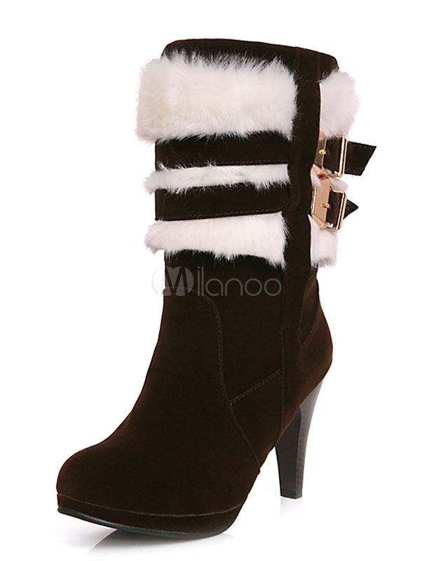 Black Heel Boots Suede Round Toe Faux Fur Buckle Short Boots For Women thumbnail