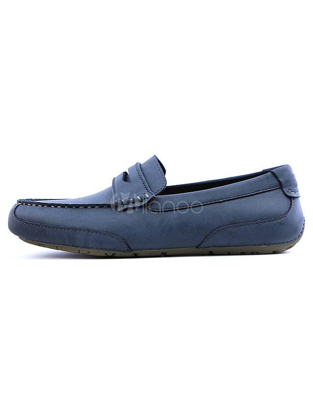 blaue herren slipper leder flachen runden slip on schuhe. Black Bedroom Furniture Sets. Home Design Ideas