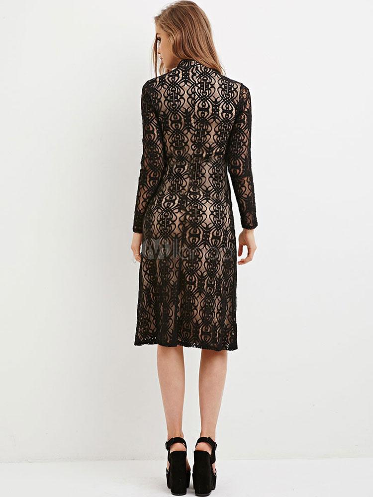 dentelle noire robe bijou moderne illusion manches longues. Black Bedroom Furniture Sets. Home Design Ideas
