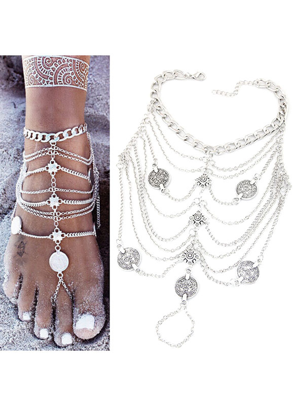 Beach Wedding Footwear Silver Beach Anklet Women†s Vintage Layered Chain Ankle Bracelet