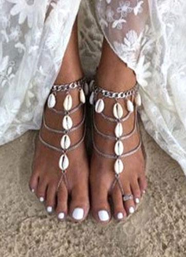 Beach Wedding Footwear Silver Beach Anklet Women's Seashell Layered Ankle Bracelet